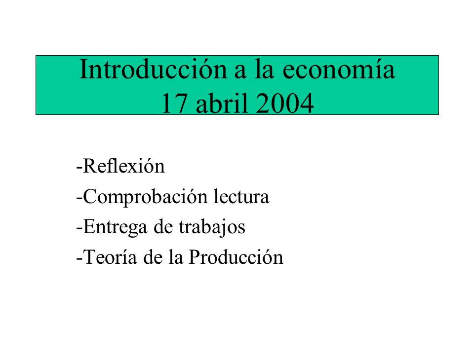 Introducción a la economía 17 abril 2004 -Reflexión -Comprobación lectura -Entrega de trabajos -Teoría de la Producción