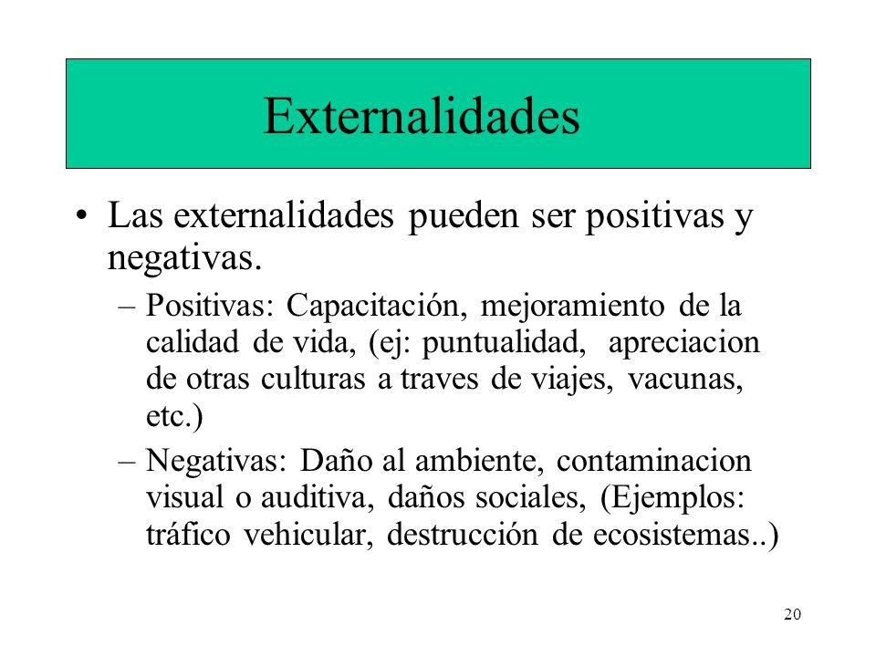 20 Externalidades Las externalidades pueden ser positivas y negativas. –Positivas: Capacitación, mejoramiento de la calidad de vida, (ej: puntualidad,