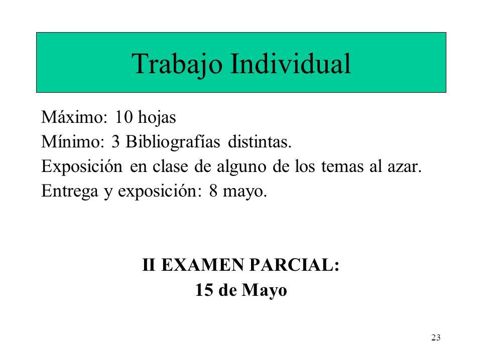 23 Trabajo Individual Máximo: 10 hojas Mínimo: 3 Bibliografías distintas. Exposición en clase de alguno de los temas al azar. Entrega y exposición: 8