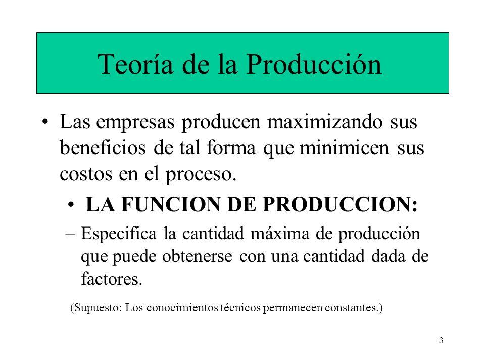 3 Teoría de la Producción Las empresas producen maximizando sus beneficios de tal forma que minimicen sus costos en el proceso. LA FUNCION DE PRODUCCI