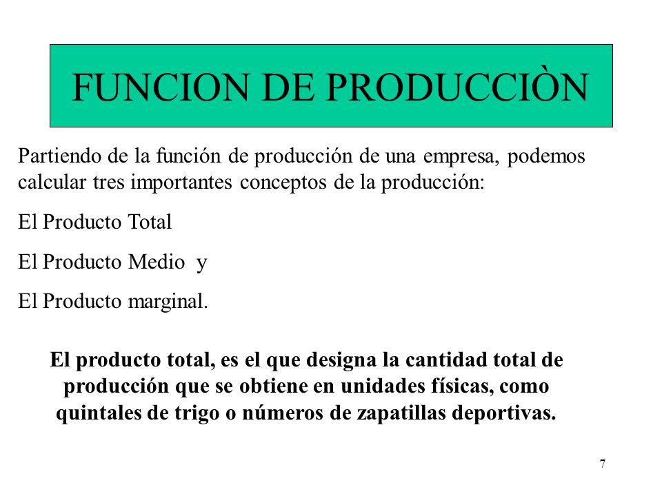 7 FUNCION DE PRODUCCIÒN Partiendo de la función de producción de una empresa, podemos calcular tres importantes conceptos de la producción: El Product