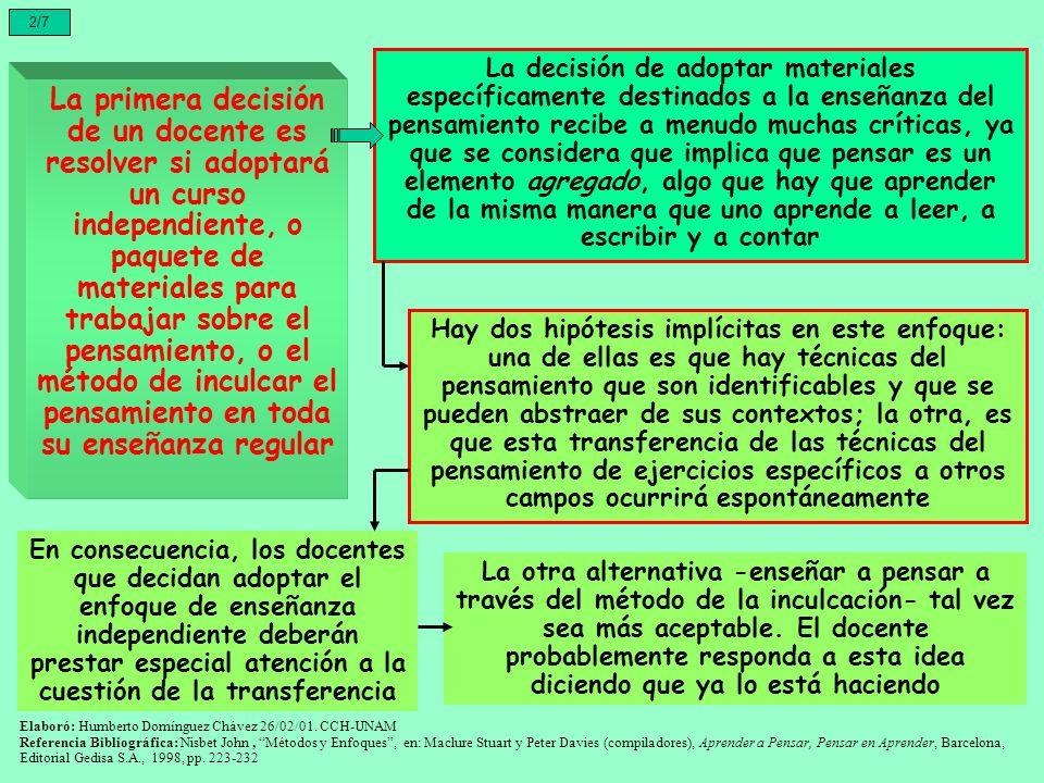 2/7 La primera decisión de un docente es resolver si adoptará un curso independiente, o paquete de materiales para trabajar sobre el pensamiento, o el