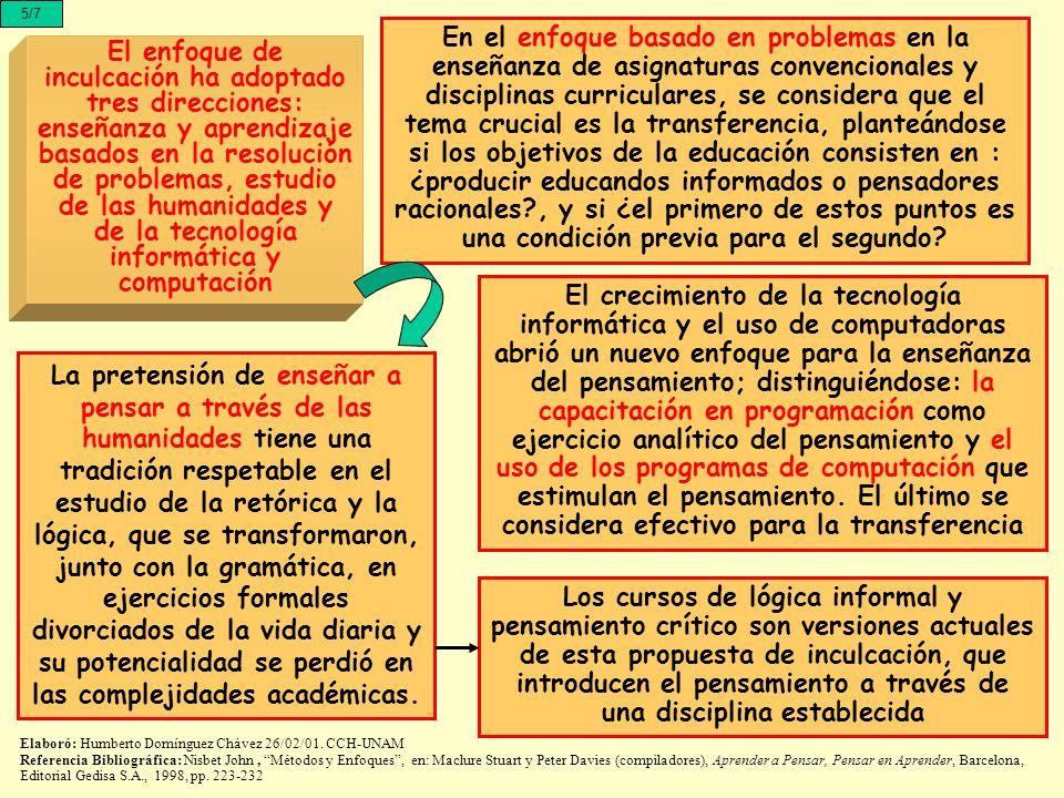 5/7 El enfoque de inculcación ha adoptado tres direcciones: enseñanza y aprendizaje basados en la resolución de problemas, estudio de las humanidades