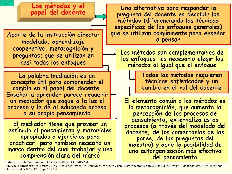 7/7 Los métodos y el papel del docente Una alternativa para responder la pregunta del docente es decribir los métodos (diferenciando las técnicas espe