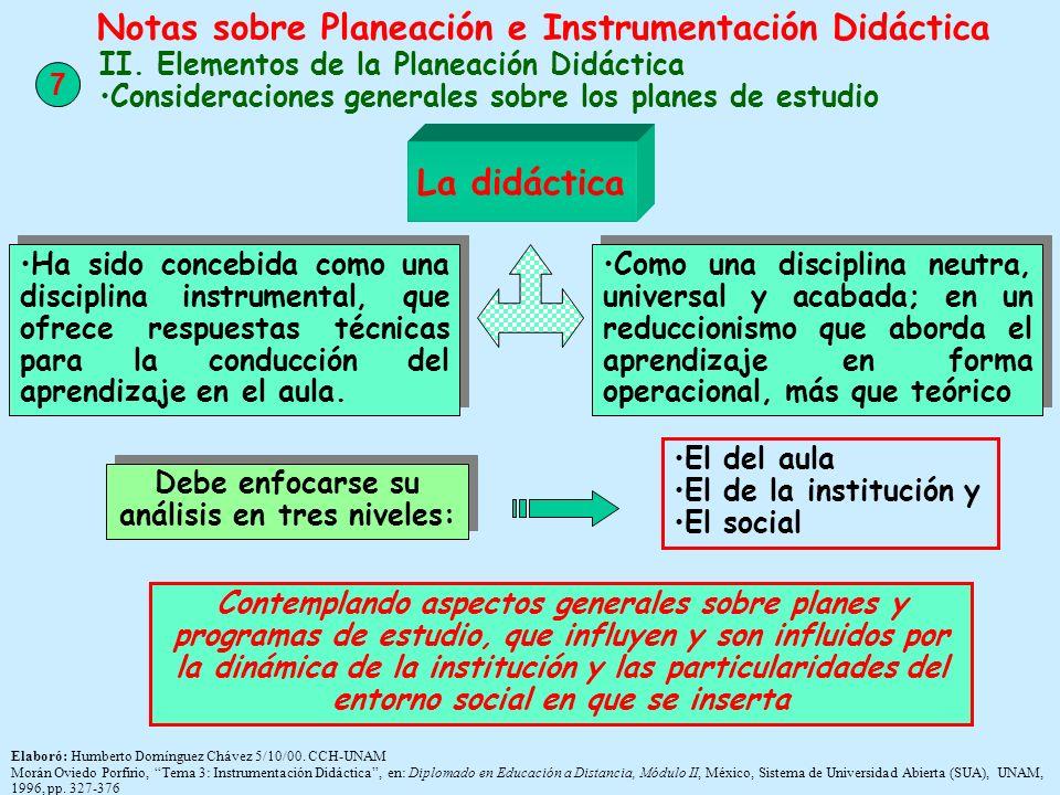 Elaboró: Humberto Domínguez Chávez 5/10/00. CCH-UNAM Morán Oviedo Porfirio, Tema 3: Instrumentación Didáctica, en: Diplomado en Educación a Distancia,