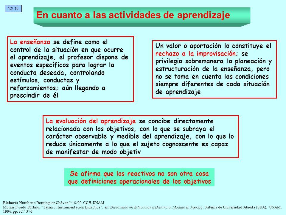 La evaluación del aprendizaje se concibe directamente relacionada con los objetivos, con lo que se subraya el carácter observable y medible del aprend