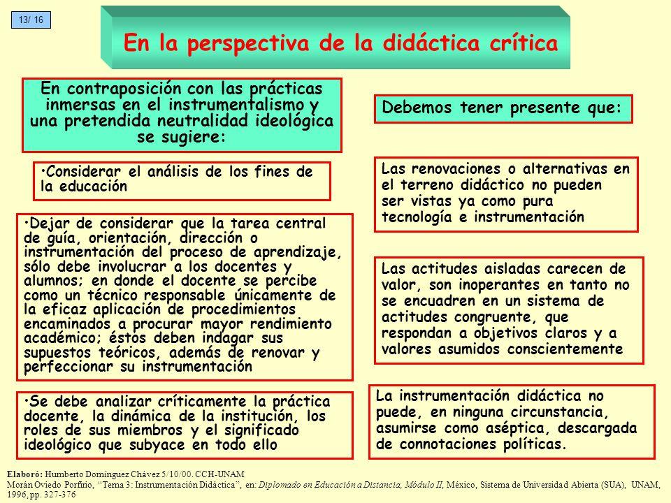En la perspectiva de la didáctica crítica La instrumentación didáctica no puede, en ninguna circunstancia, asumirse como aséptica, descargada de conno