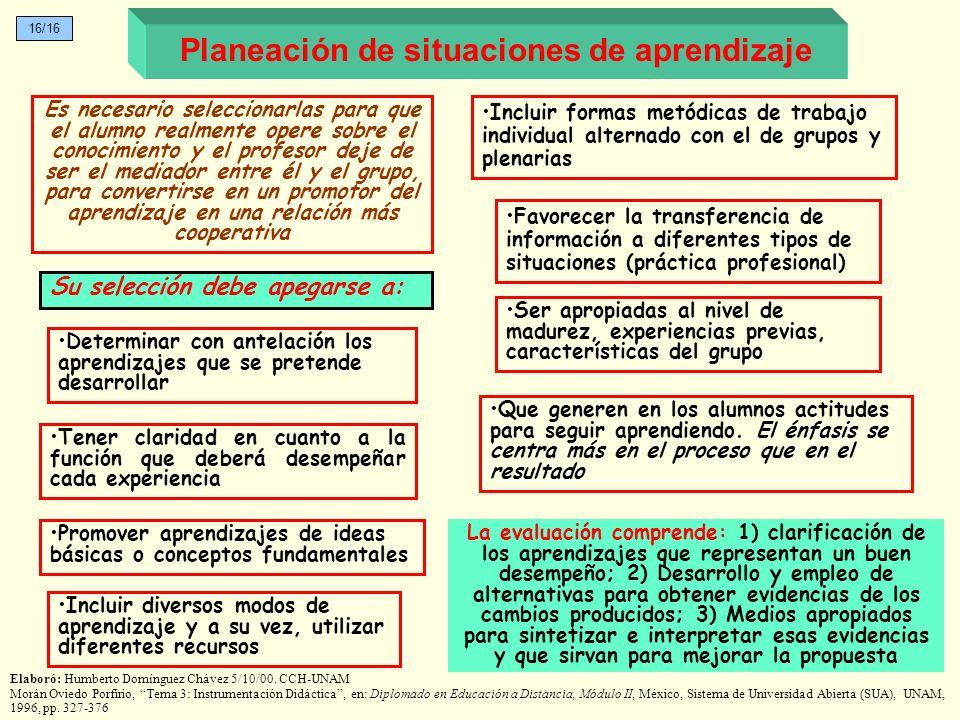 La evaluación comprende: 1) clarificación de los aprendizajes que representan un buen desempeño; 2) Desarrollo y empleo de alternativas para obtener e