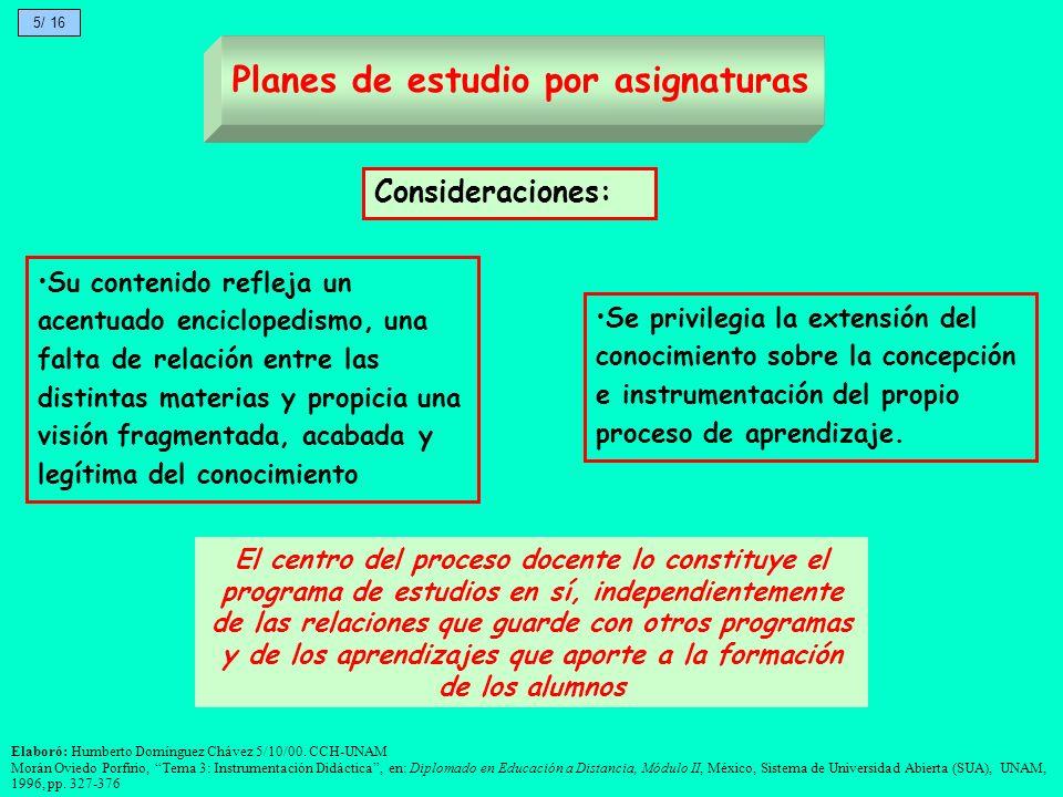 El centro del proceso docente lo constituye el programa de estudios en sí, independientemente de las relaciones que guarde con otros programas y de lo