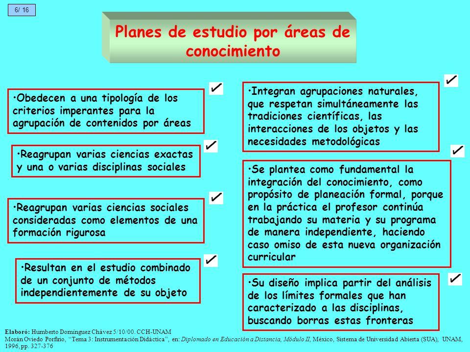 Planes de estudio por áreas de conocimiento Su diseño implica partir del análisis de los límites formales que han caracterizado a las disciplinas, bus