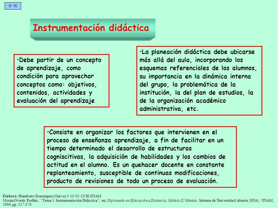 Instrumentación didáctica Consiste en organizar los factores que intervienen en el proceso de enseñanza aprendizaje, a fin de facilitar en un tiempo d