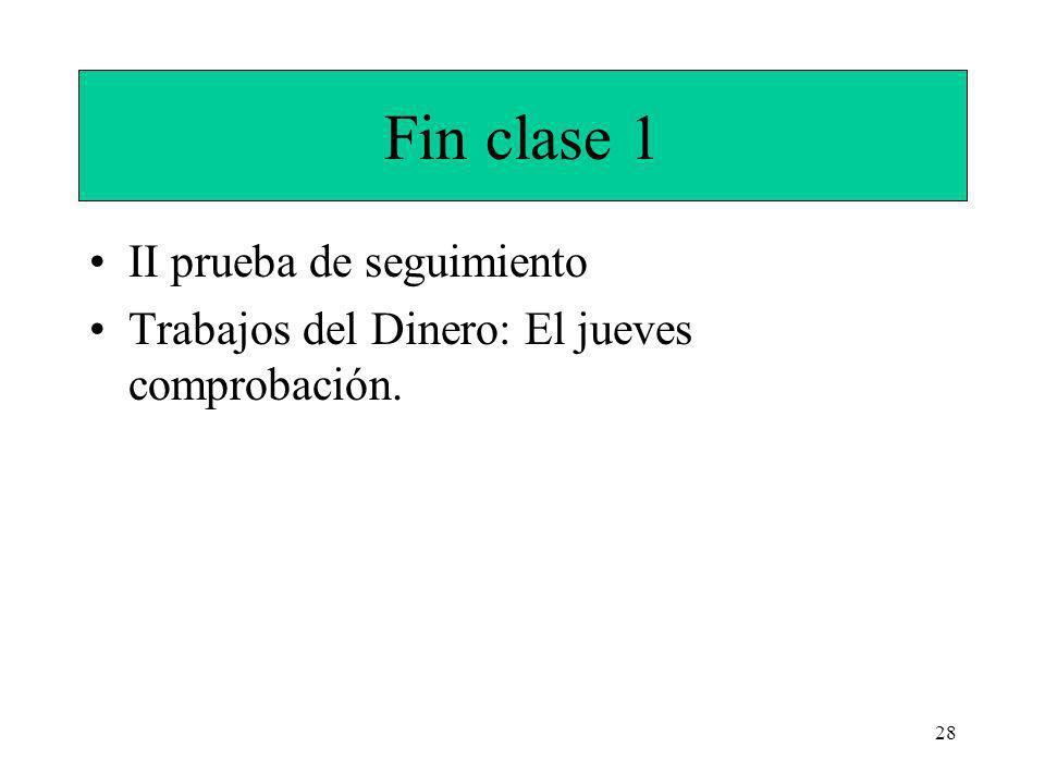 28 Fin clase 1 II prueba de seguimiento Trabajos del Dinero: El jueves comprobación.
