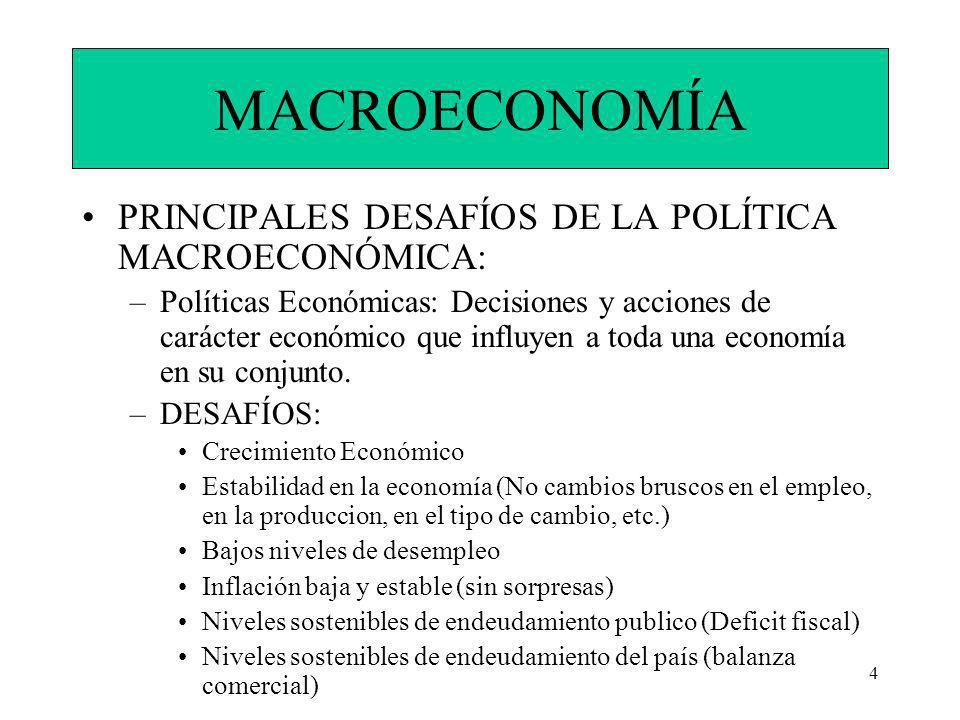 4 MACROECONOMÍA PRINCIPALES DESAFÍOS DE LA POLÍTICA MACROECONÓMICA: –Políticas Económicas: Decisiones y acciones de carácter económico que influyen a toda una economía en su conjunto.