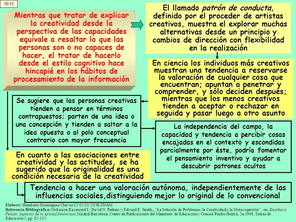 10/13 El llamado patrón de conducta, definido por el proceder de artistas creativos, muestra el explorar muchas alternativas desde un principio y camb
