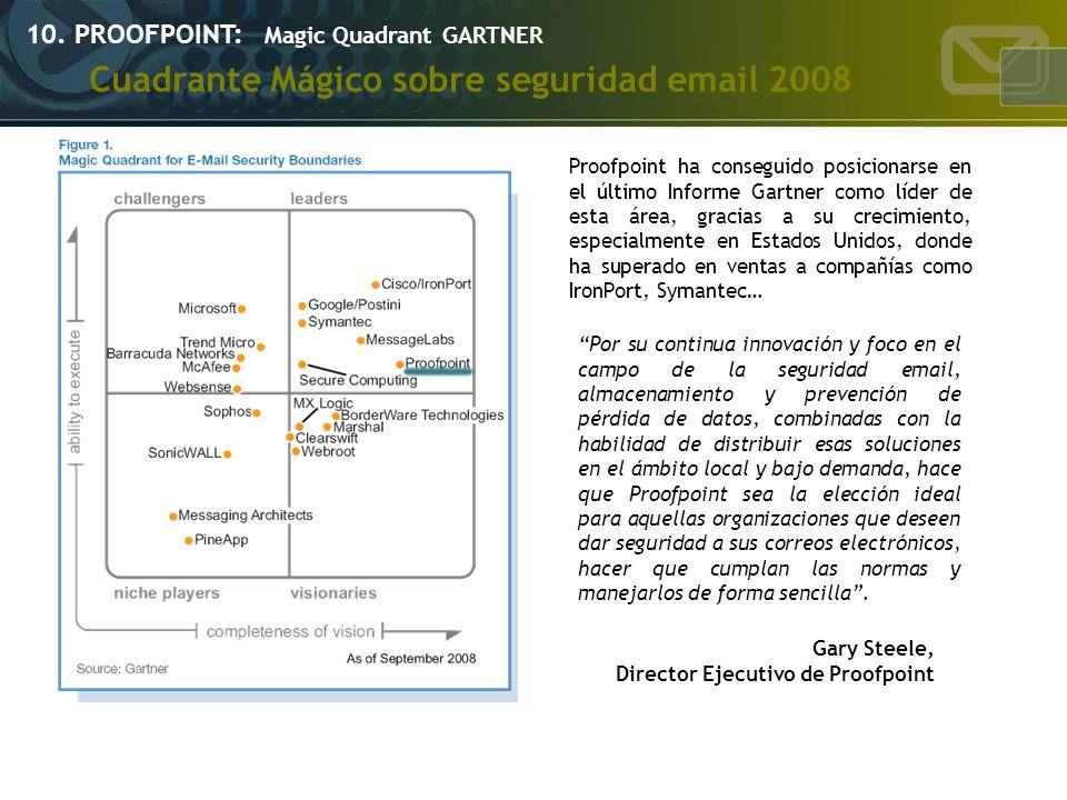 10. PROOFPOINT: Magic Quadrant GARTNER Cuadrante Mágico sobre seguridad email 2008 Proofpoint ha conseguido posicionarse en el último Informe Gartner