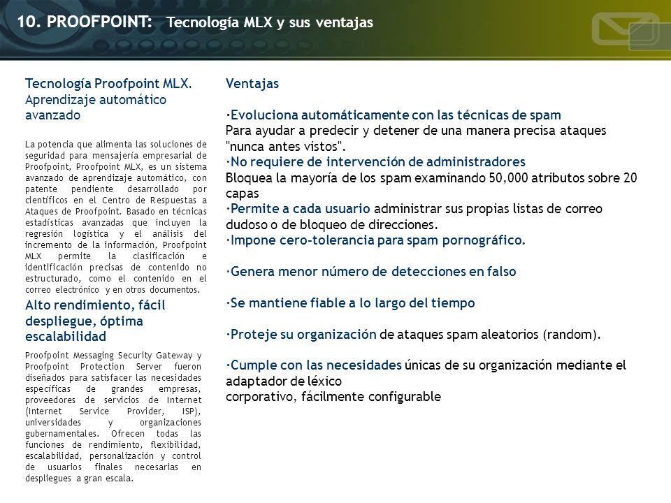 Tecnología Proofpoint MLX. Aprendizaje automático avanzado La potencia que alimenta las soluciones de seguridad para mensajería empresarial de Proofpo