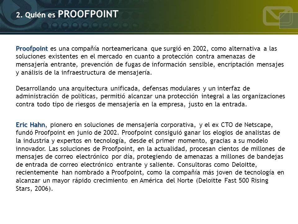 2. Quién es PROOFPOINT Proofpoint Proofpoint es una compañía norteamericana que surgió en 2002, como alternativa a las soluciones existentes en el mer
