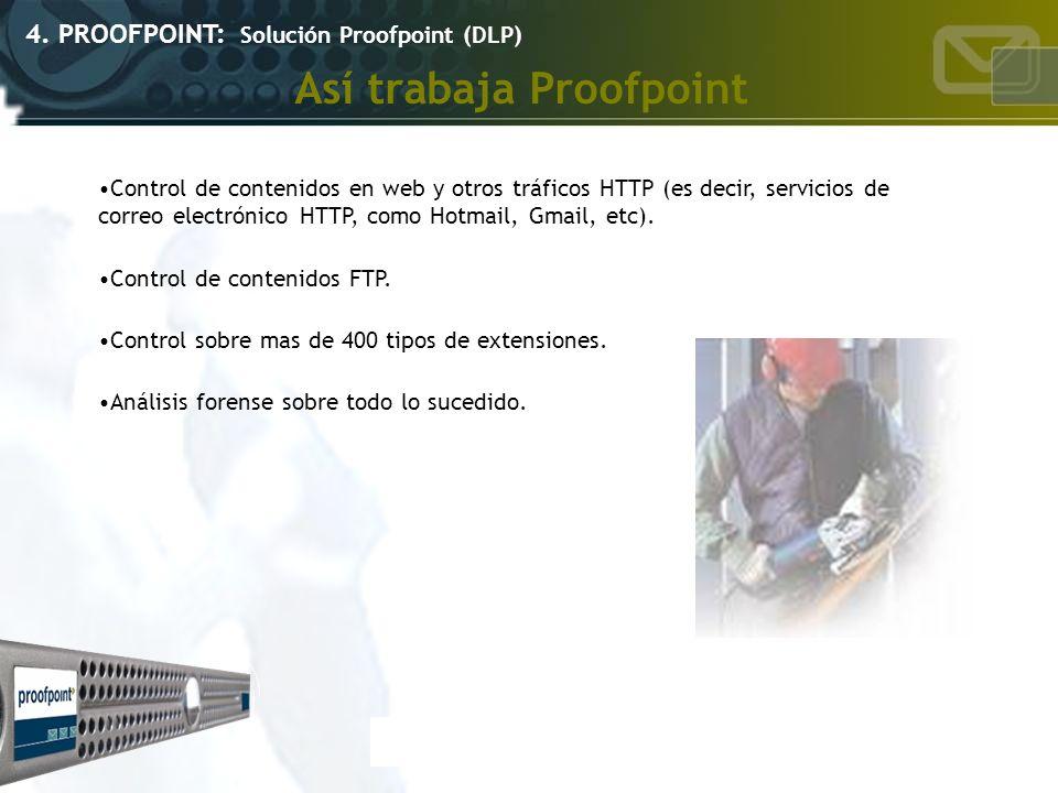 Así trabaja Proofpoint 4. PROOFPOINT: Solución Proofpoint (DLP) Control de contenidos en web y otros tráficos HTTP (es decir, servicios de correo elec
