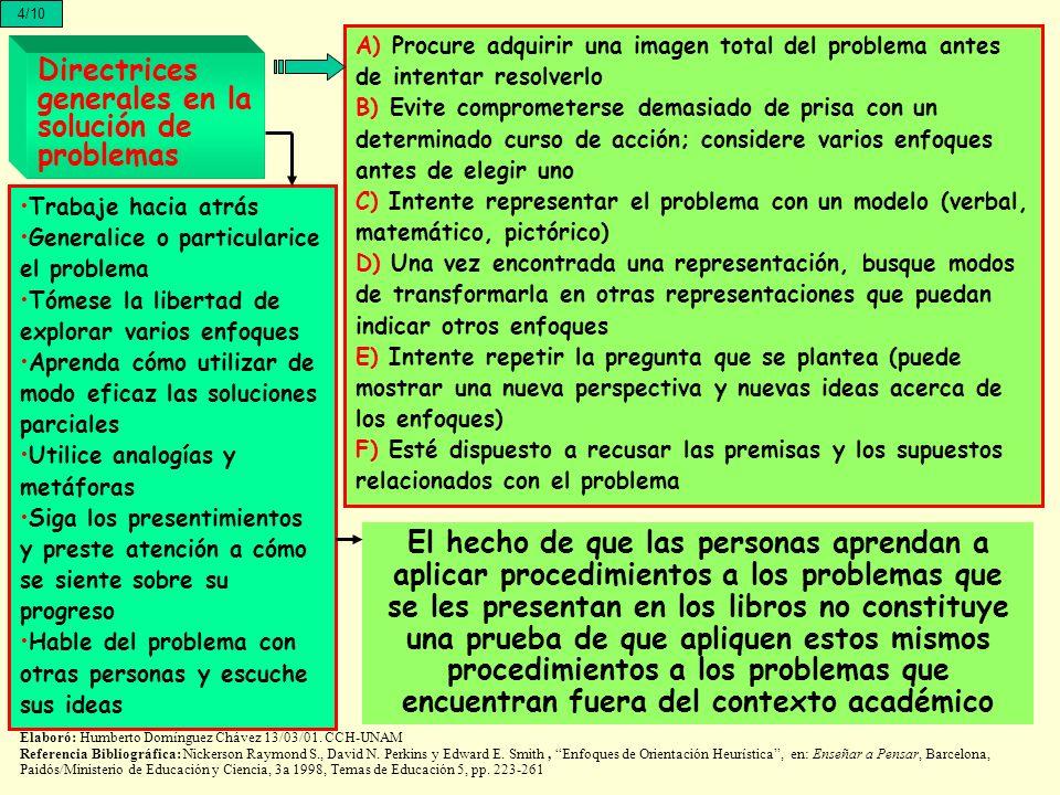 Directrices generales en la solución de problemas A) Procure adquirir una imagen total del problema antes de intentar resolverlo B) Evite comprometers
