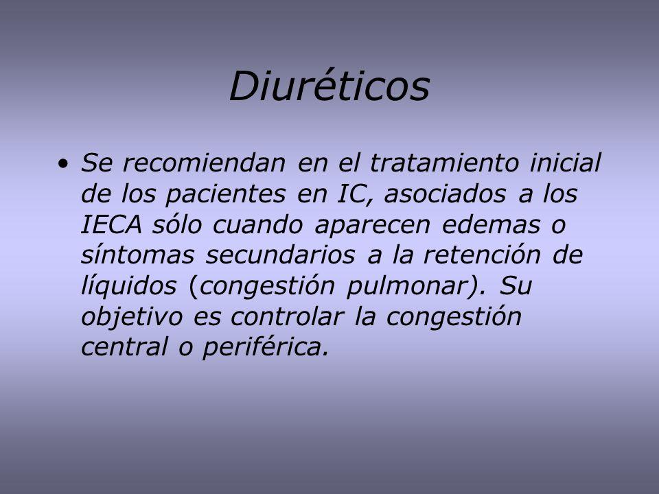 Diuréticos Se recomiendan en el tratamiento inicial de los pacientes en IC, asociados a los IECA sólo cuando aparecen edemas o síntomas secundarios a