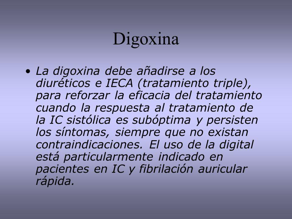 Digoxina La digoxina debe añadirse a los diuréticos e IECA (tratamiento triple), para reforzar la eficacia del tratamiento cuando la respuesta al trat