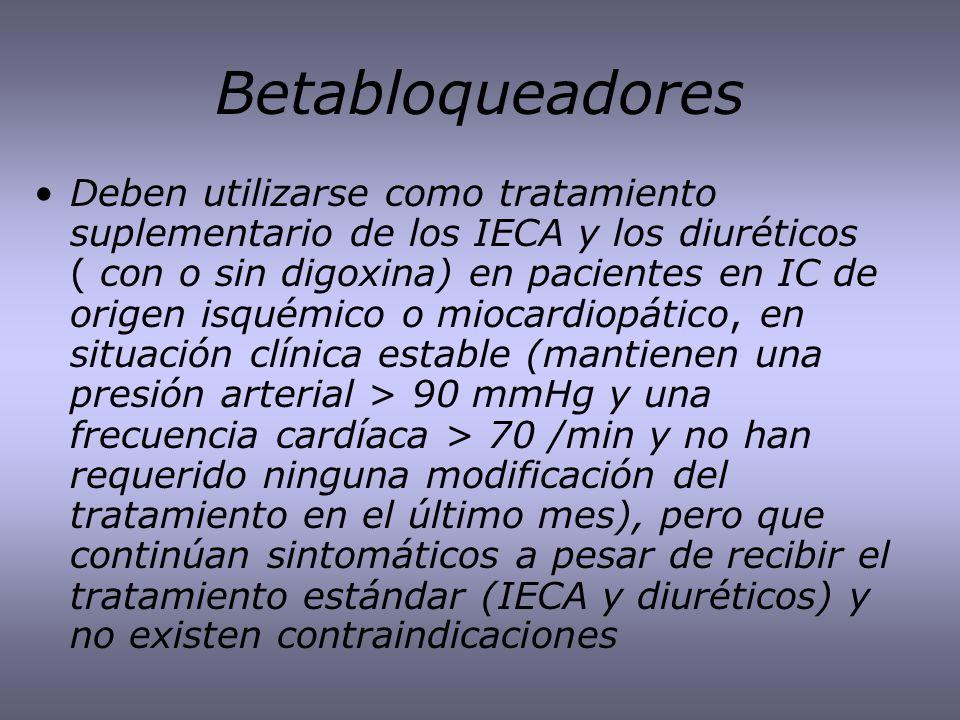Betabloqueadores Deben utilizarse como tratamiento suplementario de los IECA y los diuréticos ( con o sin digoxina) en pacientes en IC de origen isqué