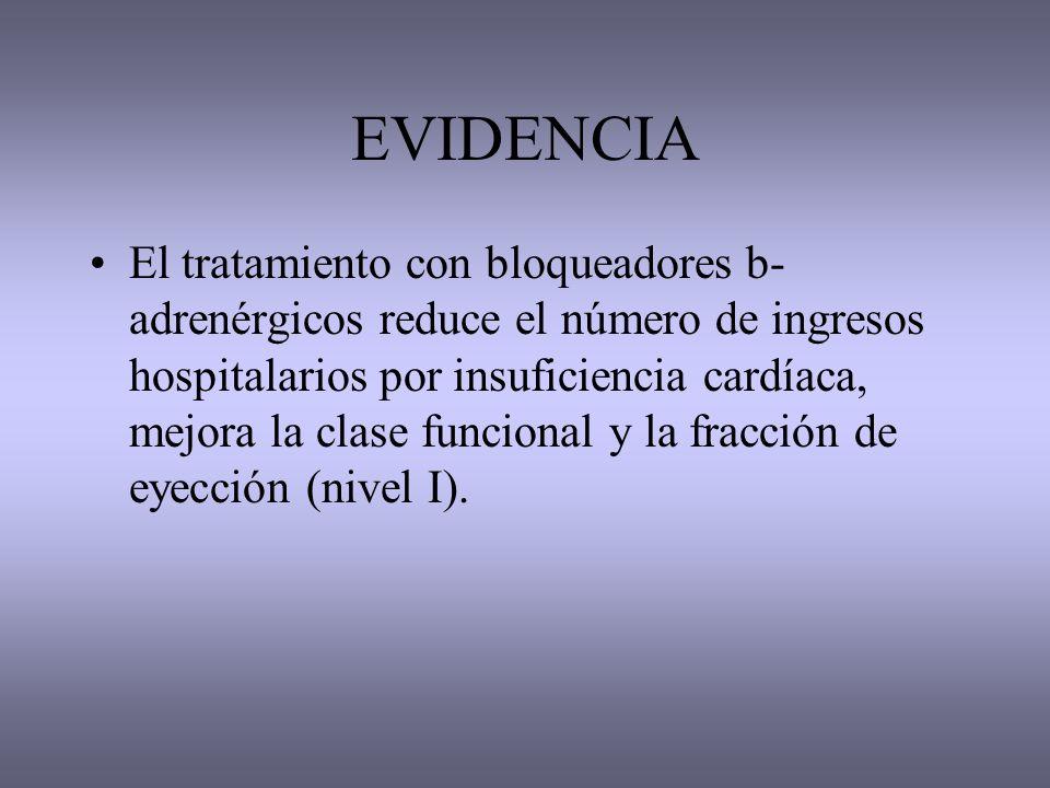 EVIDENCIA El tratamiento con bloqueadores b- adrenérgicos reduce el número de ingresos hospitalarios por insuficiencia cardíaca, mejora la clase funci