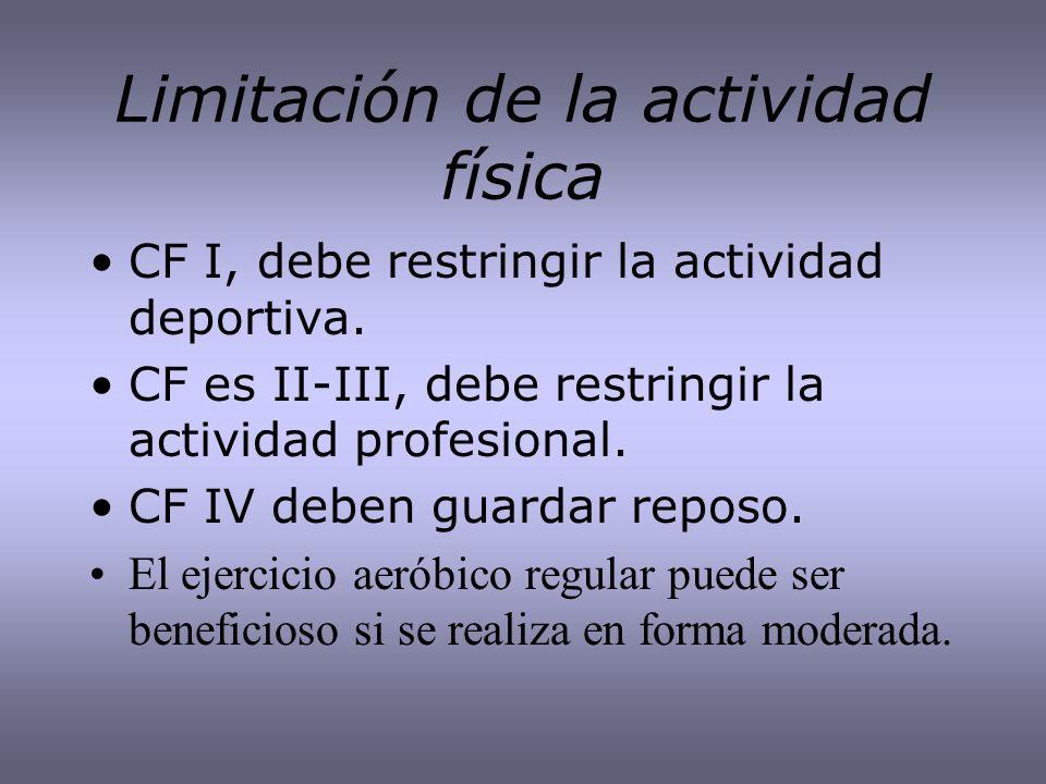 Limitación de la actividad física CF I, debe restringir la actividad deportiva. CF es II-III, debe restringir la actividad profesional. CF IV deben gu