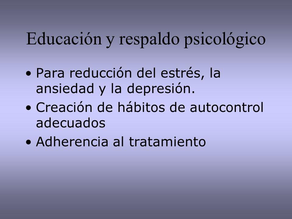 Educación y respaldo psicológico Para reducción del estrés, la ansiedad y la depresión. Creación de hábitos de autocontrol adecuados Adherencia al tra