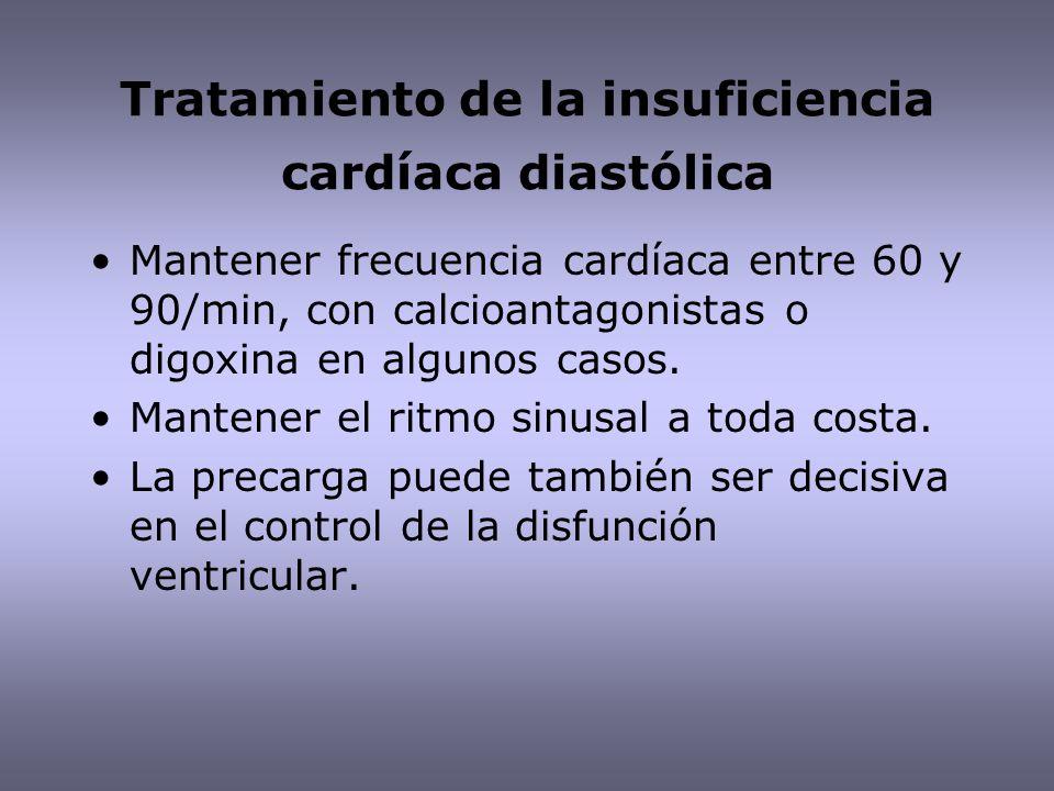 Tratamiento de la insuficiencia cardíaca diastólica Mantener frecuencia cardíaca entre 60 y 90/min, con calcioantagonistas o digoxina en algunos casos