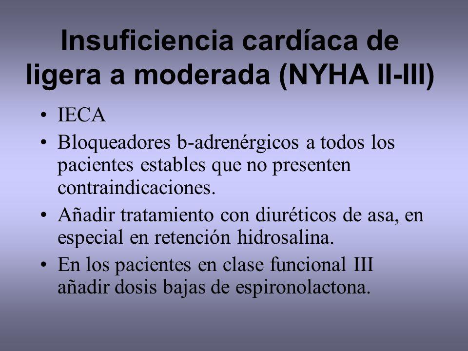 Insuficiencia cardíaca de ligera a moderada (NYHA II-III) IECA Bloqueadores b-adrenérgicos a todos los pacientes estables que no presenten contraindic
