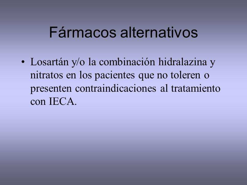 Fármacos alternativos Losartán y/o la combinación hidralazina y nitratos en los pacientes que no toleren o presenten contraindicaciones al tratamiento