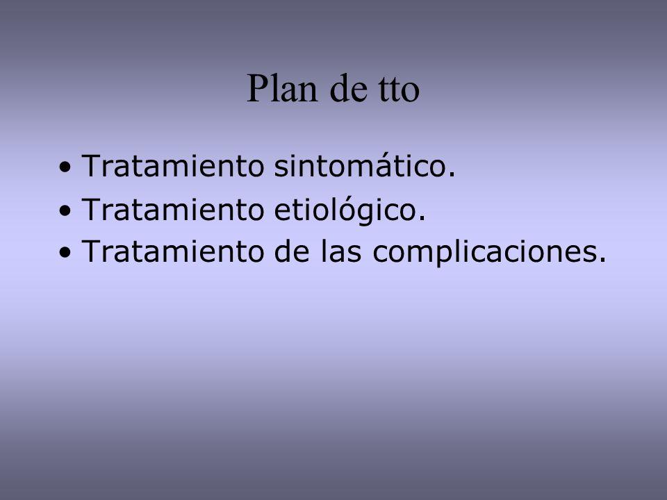 Plan de tto Tratamiento sintomático. Tratamiento etiológico. Tratamiento de las complicaciones.