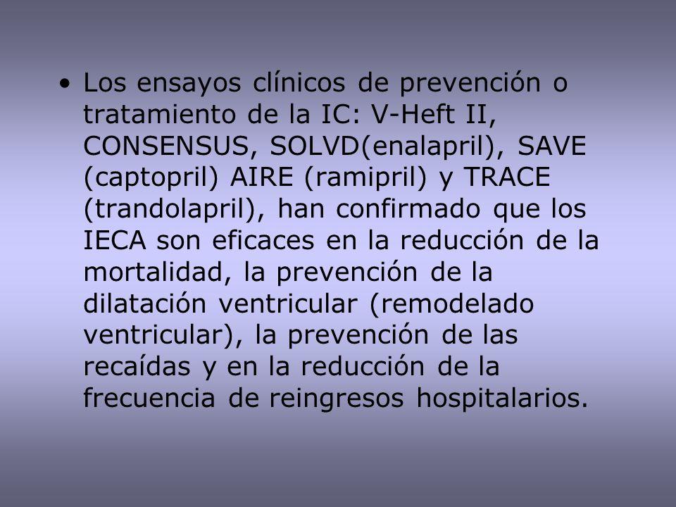 Los ensayos clínicos de prevención o tratamiento de la IC: V-Heft II, CONSENSUS, SOLVD(enalapril), SAVE (captopril) AIRE (ramipril) y TRACE (trandolap