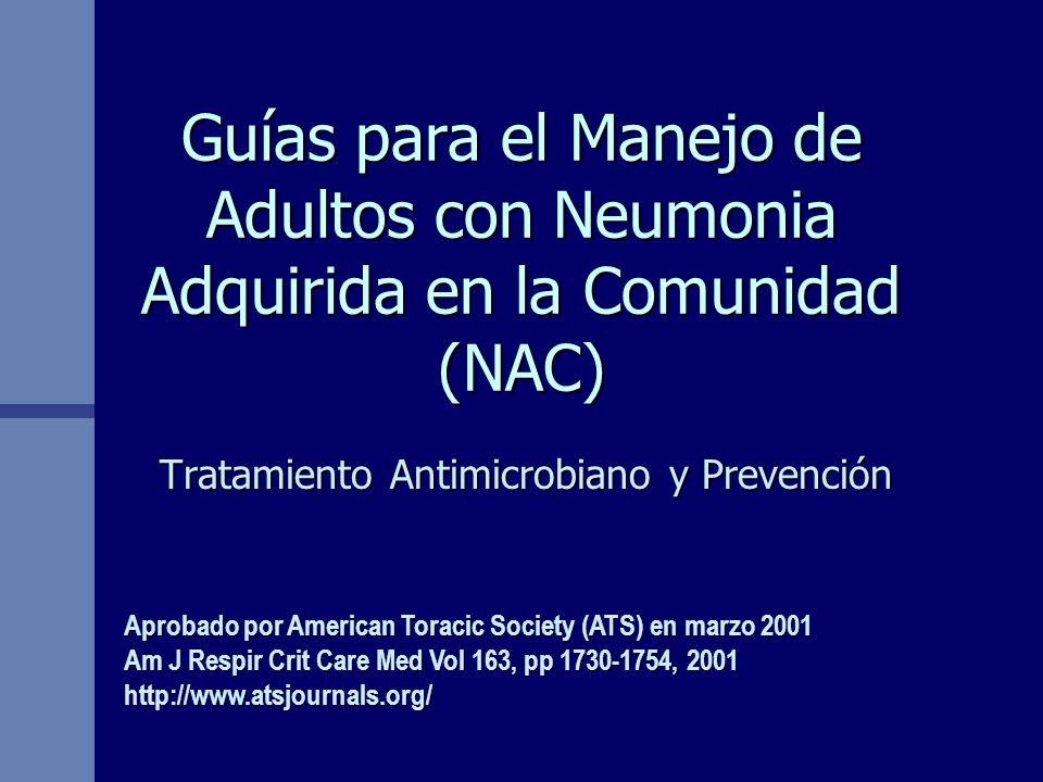 Guías para el Manejo de Adultos con Neumonia Adquirida en la Comunidad (NAC) Tratamiento Antimicrobiano y Prevención Aprobado por American Toracic Soc