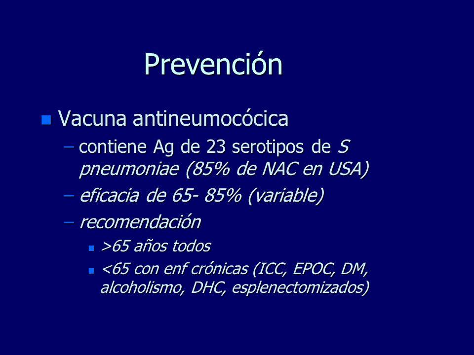 Prevención n Vacuna antineumocócica –contiene Ag de 23 serotipos de S pneumoniae (85% de NAC en USA) –eficacia de 65- 85% (variable) –recomendación n