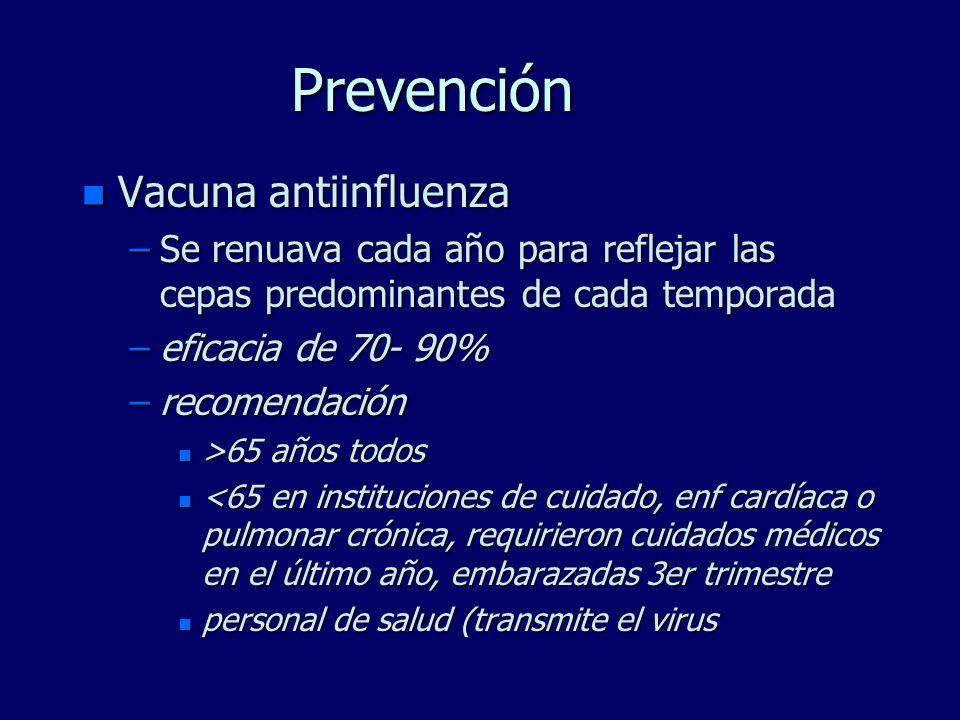 Prevención n Vacuna antiinfluenza –Se renuava cada año para reflejar las cepas predominantes de cada temporada –eficacia de 70- 90% –recomendación n >