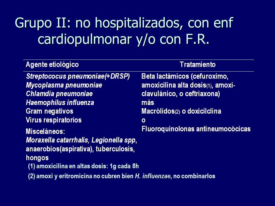 Grupo II: no hospitalizados, con enf cardiopulmonar y/o con F.R. (1) amoxicilina en altas dosis: 1g cada 8h (2) amoxi y eritromicina no cubren bien H.