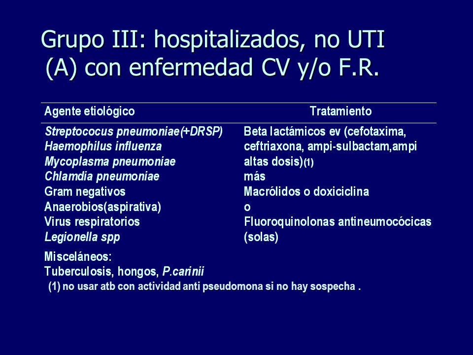 Grupo III: hospitalizados, no UTI (A) con enfermedad CV y/o F.R. (1) no usar atb con actividad anti pseudomona si no hay sospecha.