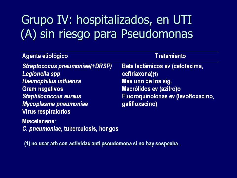Grupo IV: hospitalizados, en UTI (A) sin riesgo para Pseudomonas (1) no usar atb con actividad anti pseudomona si no hay sospecha.