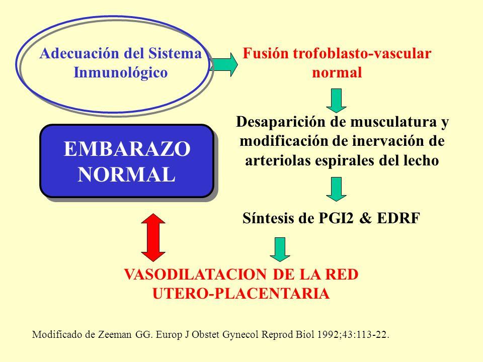 Adecuación del Sistema Inmunológico Fusión trofoblasto-vascular normal Desaparición de musculatura y modificación de inervación de arteriolas espirale