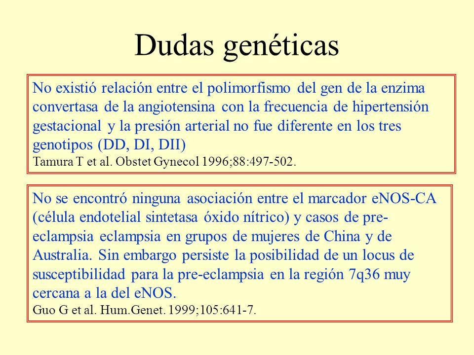 Dudas genéticas No existió relación entre el polimorfismo del gen de la enzima convertasa de la angiotensina con la frecuencia de hipertensión gestaci