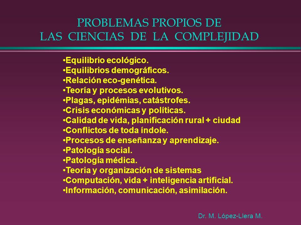 PROBLEMAS PROPIOS DE LAS CIENCIAS DE LA COMPLEJIDAD Equilibrio ecológico. Equilibrios demográficos. Relación eco-genética. Teoría y procesos evolutivo