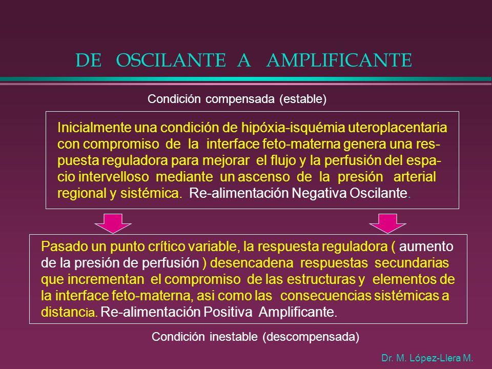 DE OSCILANTE A AMPLIFICANTE Inicialmente una condición de hipóxia-isquémia uteroplacentaria con compromiso de la interface feto-materna genera una res