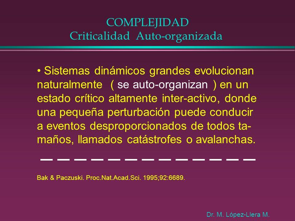 COMPLEJIDAD Criticalidad Auto-organizada Sistemas dinámicos grandes evolucionan naturalmente ( se auto-organizan ) en un estado crítico altamente inte