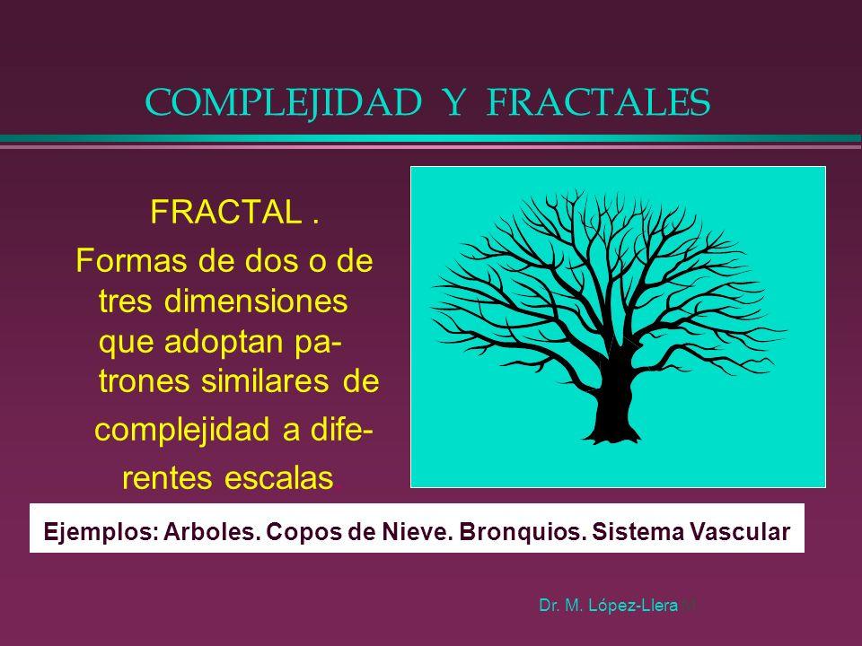 COMPLEJIDAD Y FRACTALES FRACTAL. Formas de dos o de tres dimensiones que adoptan pa- trones similares de complejidad a dife- rentes escalas. Ejemplos: