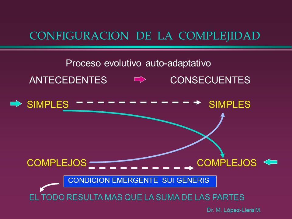 CONFIGURACION DE LA COMPLEJIDAD Proceso evolutivo auto-adaptativo ANTECEDENTES CONSECUENTES SIMPLES COMPLEJOS CONDICION EMERGENTE SUI GENERIS Dr. M. L