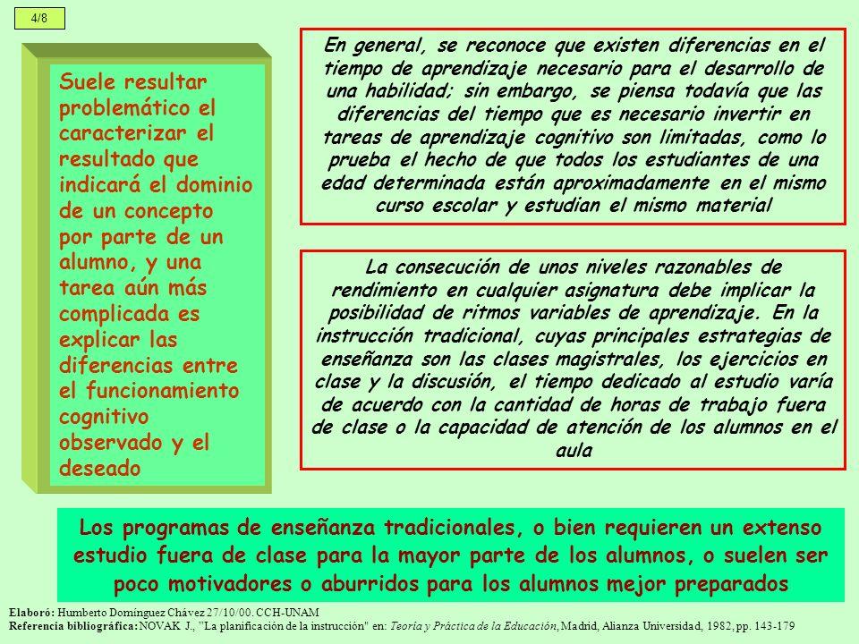 4/8 Elaboró: Humberto Domínguez Chávez 27/10/00. CCH-UNAM Referencia bibliográfica: NOVAK J., La planificación de la instrucción