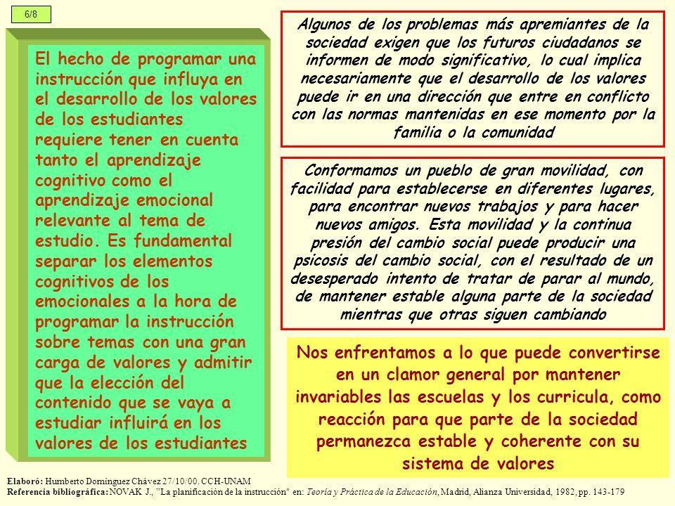 6/8 Elaboró: Humberto Domínguez Chávez 27/10/00. CCH-UNAM Referencia bibliográfica: NOVAK J., La planificación de la instrucción