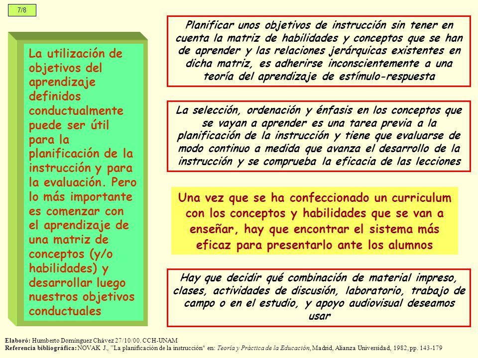 7/8 La utilización de objetivos del aprendizaje definidos conductualmente puede ser útil para la planificación de la instrucción y para la evaluación.
